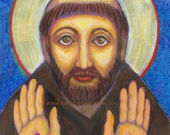 The Blessing of Saint Francis - Catholic Gift - Confirmation - Fine Art Print - Stigmata Icon- Catholic Art