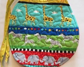 Baby bib, bib, bibs, boy bib, girl bib, baby animals bib, quilted bib, patchwork bib, giraffe bib, elephant bib, zebra bib, modern bib