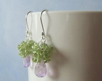 January sale Lilac amethyst briolettes, and  peridot dangle earrings