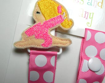 Pacifier holder, pacifier clip, Gymnast pacifier clip, Gymnast baby gift, pink Gymnast binky clip, binky holder, baby shower gift, paci clip