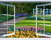 Wall mural window, self adhesive -Holland garden, open window view-3 sizes available-Dutch Garden with Bridge, Holland - free US shipping