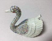 RESERVED 2016 Clearance Collectible SWAN Trinket Ring Box with Rhinestones