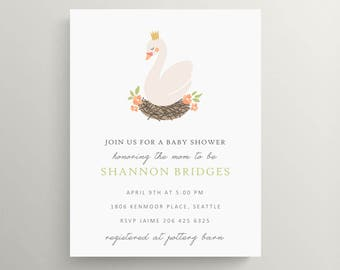 swan baby shower invitation // baby announcement // modern invite // new baby // floral // princess // prince // nursery rhyme // crown