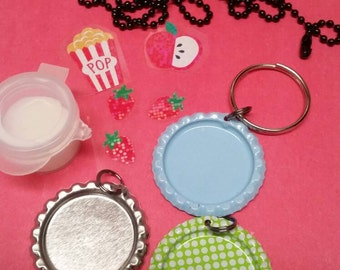 Diy bottlecap pendant and keychain kit!  Super easy and fun,stickers,snacks,berries, popcorn,mod podge, kids,party favors, cute