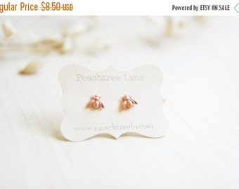 CHRISTMAS SALE Tiny Copper Bee Earrings >> Honeybee Post Earrings << Bridesmaid Gifts >> Bee Themed Wedding >> Bridal Party Gifts
