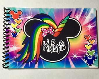 Disney Rainbow Unicorn Autograph Book  - Personalized Mickey and Minnie Mouse Unicorn Design