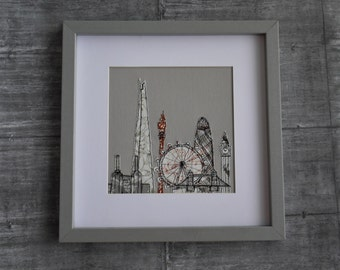 London Skyline Freehand Machine Embroidered Picture. Grey frame, Shard, Gherkin, Big Ben, Tower Bridge, London Eye, Battersea Power Station