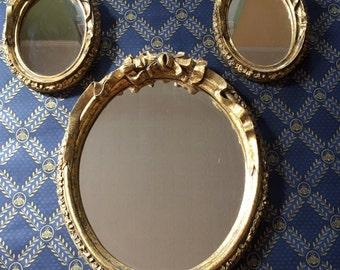 Gorgeous gold ornate mirror set wall hanging