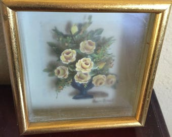 3 dimentional miniatire flower painting signed