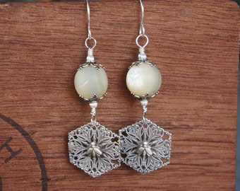 Antique Assemblage Earrings Huge Mother of Pearl Beads with Silver Plated Napoleonic Bees