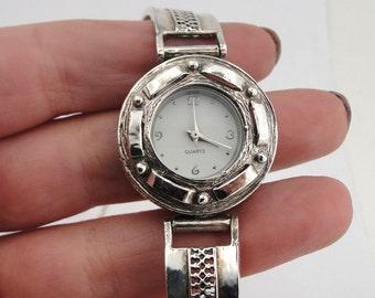 925 Sterling Silver Bracelet Watch, Israel Original Handmade Fine Silver Filigree Bracelet Watch, Bracelet Watch, Women Watch, Free Shipping