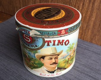 Optimo Cylinder Can Humidor Cardboard Cigar Box with Label Tampa Dolls
