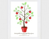 teacher appreciation fingerprint apple tree - printable file - personalized classroom gift, gifts for teachers, thumbprint, class decoration