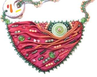 Bead embroidered shibori silk necklace