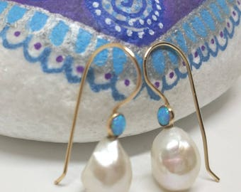 White Pearl Earrings With  Blue Opal In 14K gold Filled, Bridal Earrings, blue Opal, Gold Pearl Earrings, Freshwater Pearls