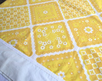 Vintage Bed Sheet - Yellow and White Calico Squares - Full Flat