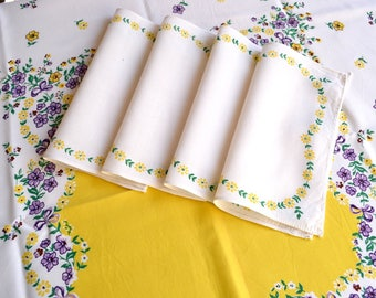 Vintage Rayon Tablecloth and Napkins - Yellow Flowers and Violets Bridge Set - Leacock Forget Me Not NOS