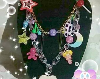 Kawaii Fairy Kei Heart Rainbow Pastel Moon Key Teddy Bear Star Lollipop Dangle Necklace