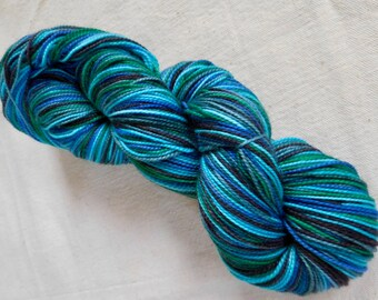 Self-Striping Teal, Emerald, Aqua, and Black Superwash Merino and Nylon Blend Sock Yarn:  Dragonfly