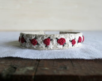 Red Rose Embroidered Bracelet - Red and White Flowers on Natural Linen Embroidered Cuff Bracelet