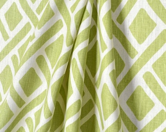 Pair (two 50W panels) Portfolio Treads new leaf, designer curtain panels drapes, green and white
