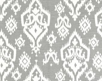 A pair ( two 50W x 90L panels) rod pocket drapes, curtains, drapes, raji ikat grey and white