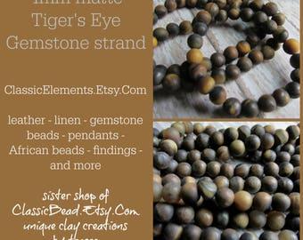 4mm matte tigers eye beads, bead strands, gemstone beads, gemstone bead strands, tigers eye, matte gemstones, golden tigers eye