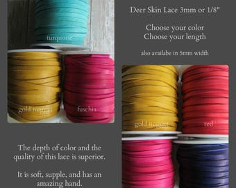 CHOICE of 3mm Deerskin Lace, Deerskin, Deer Skin, Lace, Leather Lace, Lace, Leather, 3mm lace, 3mm leather