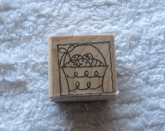 Stamp for Scrapbooking or Card Making- Basket with Easter Eggs-Rubber Stamp
