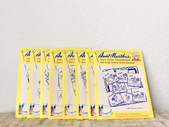 Vintage Aunt Martha's Hot Iron Transfers, Lot of 8