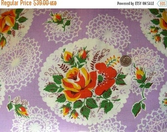 SALE:) Vintage Feedsack Cotton Fabric -  - BEAUTIFUL Cottage Chic Lavender Background with Yellow & Orange Roses, and Lace Doilies  -- 36 x