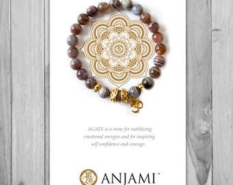 BOTSWANA AGATE,Mala Bracelet,Beaded Bracelet,Gemstone Bracelet,Yoga Jewelry,Inspirational Jewelry,Healing Jewelry, Gift for Her