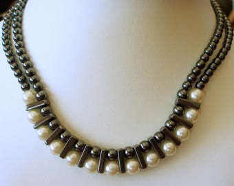 Hematite Necklace, Hematite and Pearl Necklace, Industrial Style Necklace