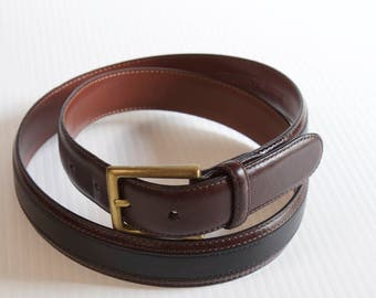 Vintage Johnston & Murphy Mens Black and brown leather belt size 38