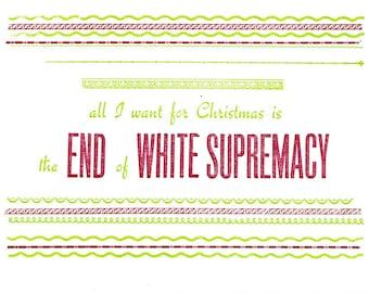 Single Letterpress Postcard All I Want for Christmas