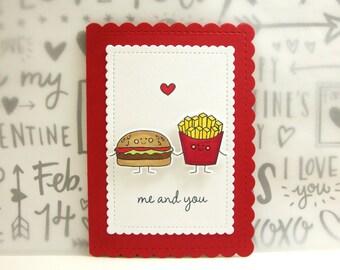 Foodie Valentine Card, Foodie Valentine, Perfect Pair Valentine, Hamburger and French Fries Valentine Card, Hamburger Valentine Card,