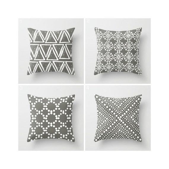 Mud Warm Gray Throw Pillow - Modern Throw Pillow - Geometric Pillow - Grey Cushion - White Triangle - Grey Throw Pillow 16 18 20 24 inch