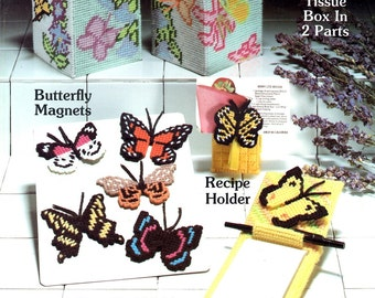 Butterflies for Plastic Canvas Magnets Recipe Holder Note Pad Holder Tissue Box Covers Needlepoint Embroidery Craft Pattern Leaflet 40
