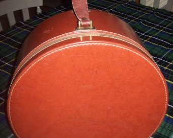 Round Suitcase Hatbox Storage Box Photo Prop from 1940s
