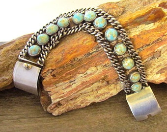 Vintage 950 Sterling Silver & Turquoise Bracelet signed J. De La Puente Taxco Mexico
