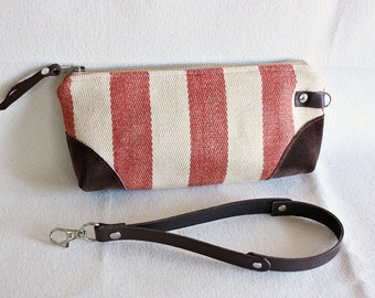Stripe wristlet ,pouch ,clutch, wallet, IPhone pouch, bridesmaid gift/ Red with leather trim - READY--
