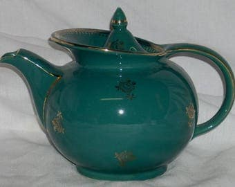 Hall 6 Cup Teal Green Windshield Teapot Tea Pot ~Mint Condition~