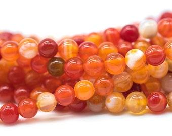 6mm   Agate Beads,   60pc Strand, 1mm Hole, Round Orange Agate Beads -B790