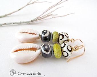 African Earrings, Cowrie Shell Earrings, Tribal Earrings, African Bead Jewelry, Ethnic Boho Earrings, Green Stone Earrings, Summer Jewelry