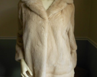 Cream  and Tan Mink Fur Jacket
