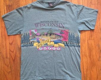 Boulder Junction Wisconsin Walleye fishing wraparound print t shirt large