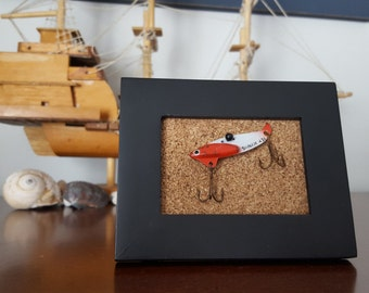 Framed Vintage Fishing Lure, Cabin or Beach House Decor, Fishing Tackle