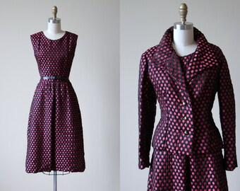 60s Dress - Vintage Nina Ricci 1960s Dress - Raspberry Pink Black Silk Polka Dot Brocade Dress Suit Set - La Nina Dress