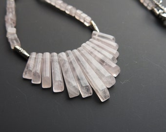 Rose Quartz Bib Necklace with Fine Silver Clasp and Thai Silver Spacers