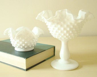 Fenton hobnail milk glass 'bonbon' star bowl & peanut dish, 1960-80s white milk glass, small cachepot or candy bowl, candy dishes, set of 2